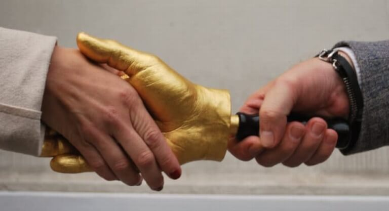 Golden Handshake - Hand-Sculpture